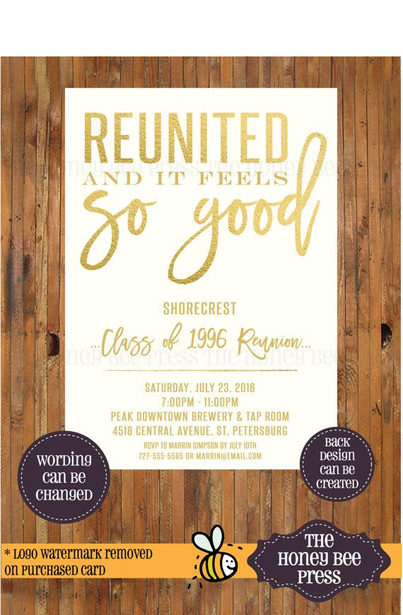 High School Reunion Invitation Reunited and by TheHoneyBeePress - class reunion invitations templates