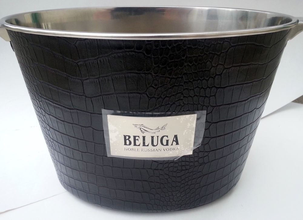 Vodka Ice Bucket Stainless Faux Leather Party Gift Black Modern Sexy Beluga  RARE