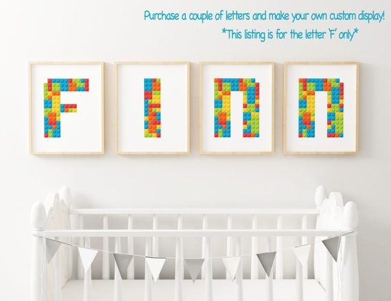 Letter F Lego Block Inspired Nursery Art Printable Wall