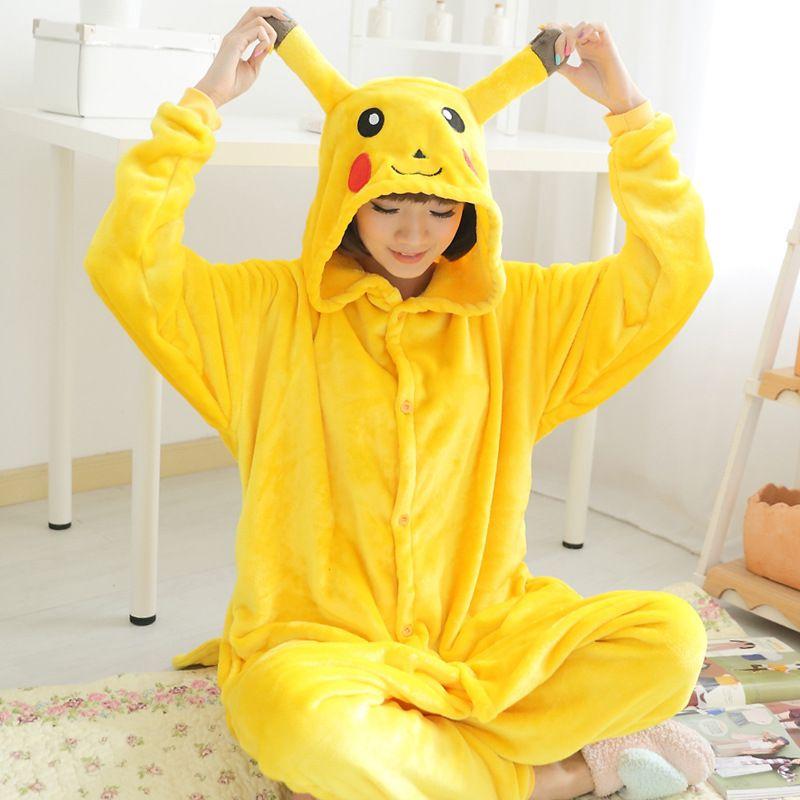 416c9e0e3d Cheap Otoño invierno de la franela animal pijama de una pieza mujeres cosplay  pokemon pikachu pijamas pikachu onesie animal pijamas pijamas entero mujer  ...