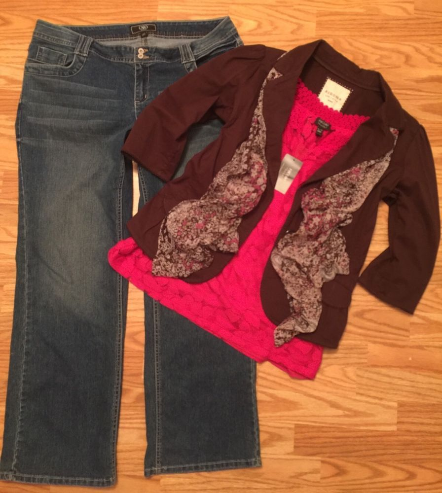 Women 39 s diva plus 4 pc lot nicole miller top xl blazer cato jeans 18w scarf ebay plus size - Diva pants ebay ...