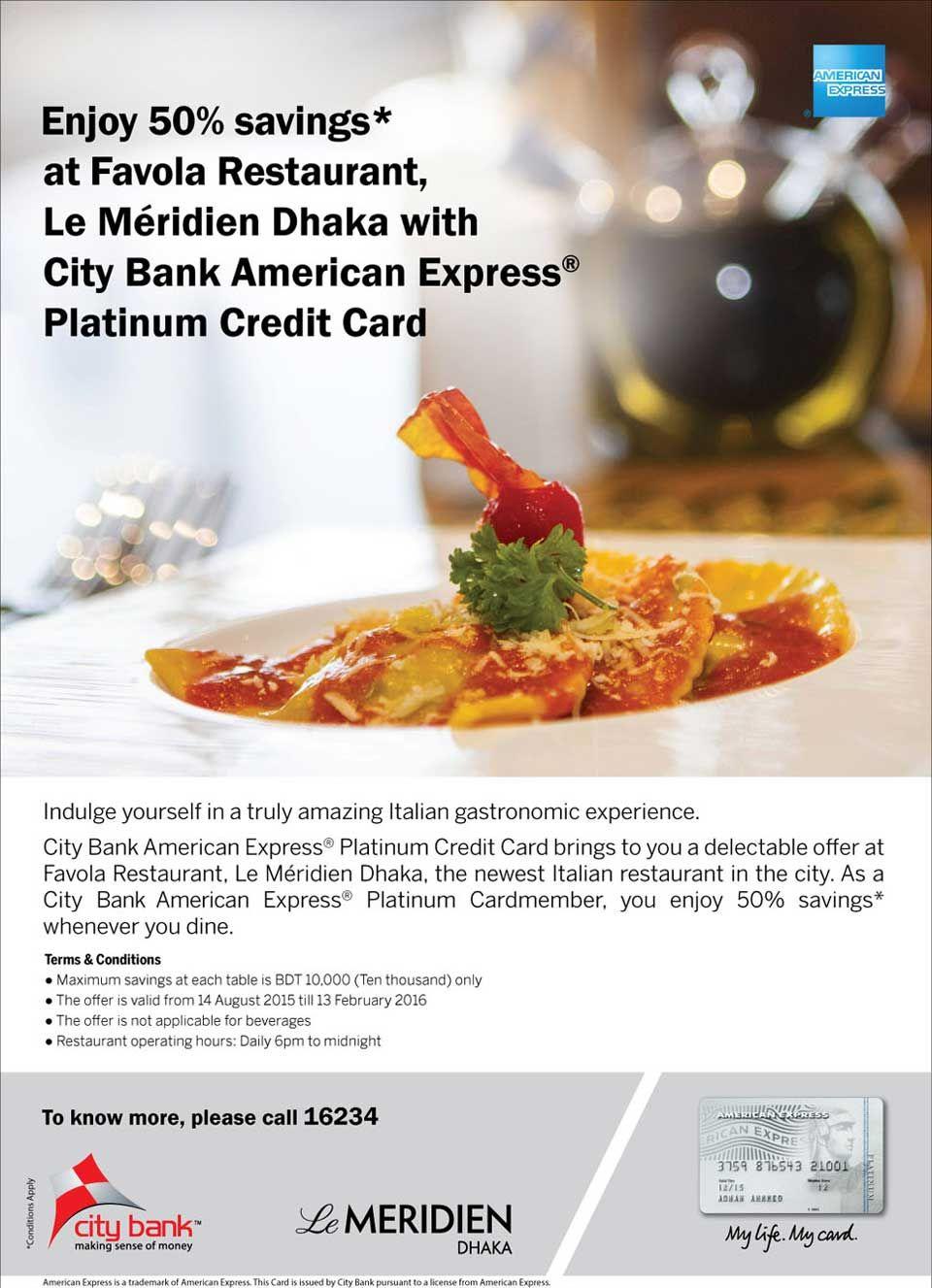 Enjoy 50% Saving at Restaurant with City Platinum Card | goromgorom