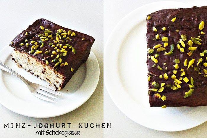 Minz-Joghurt Kuchen mit Schokoglasur