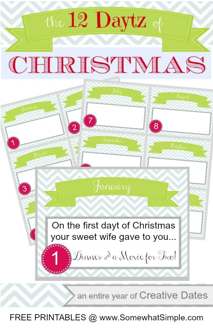 Fun gift for your significant other- plan a date for each month of ...