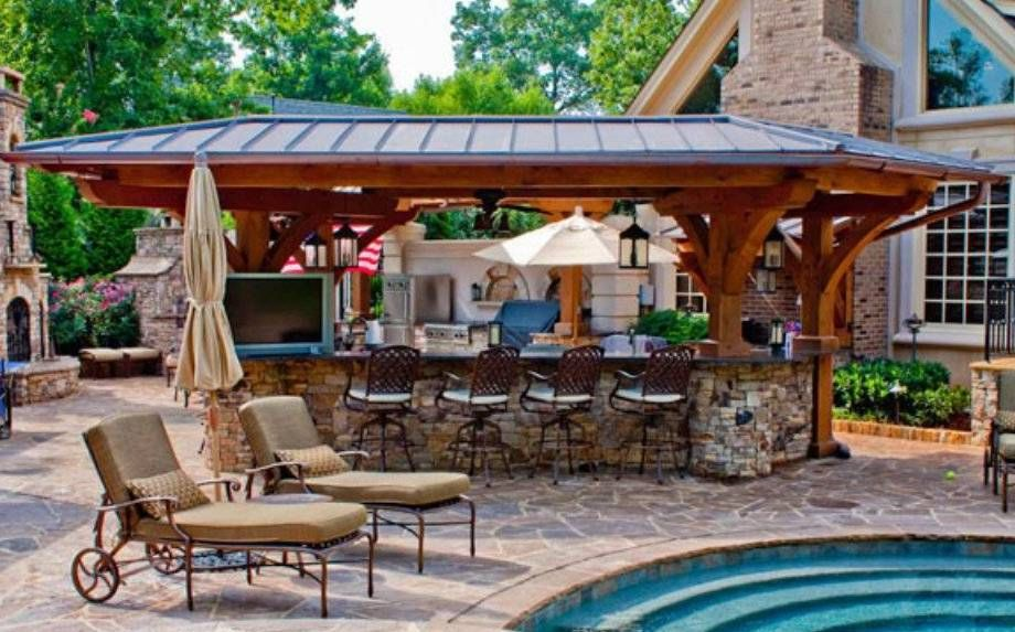 Awesome luxury outdoor kitchen near the pool with bar by for Pool design with bar