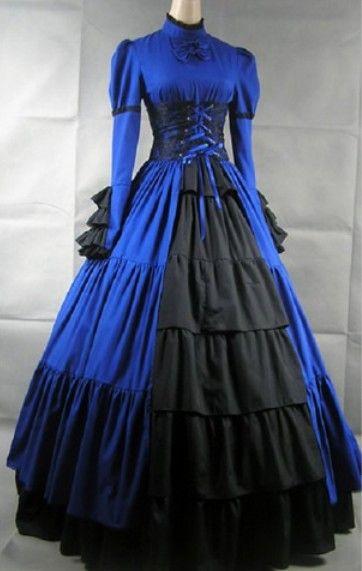 Blue Long Sleeve Corset Medieval Goth Wedding Dress | goth dresses ...