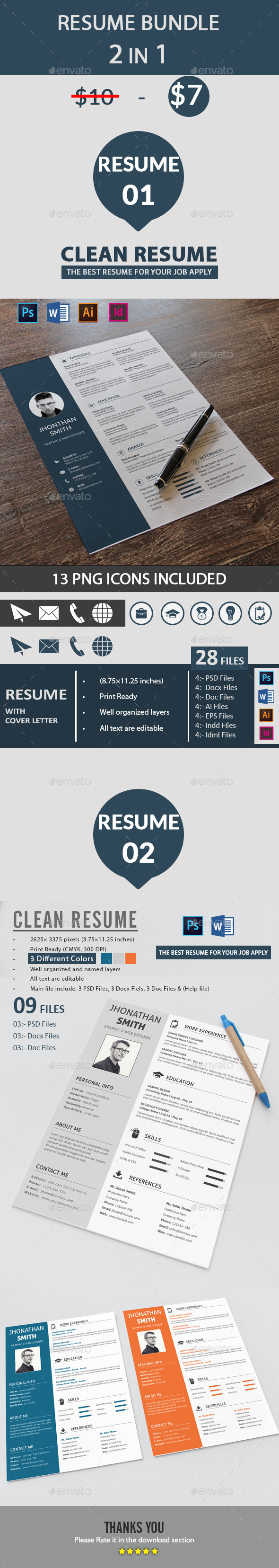 Resume Template PSD, InDesign INDD, AI Illustrator, MS Word | Resume ...