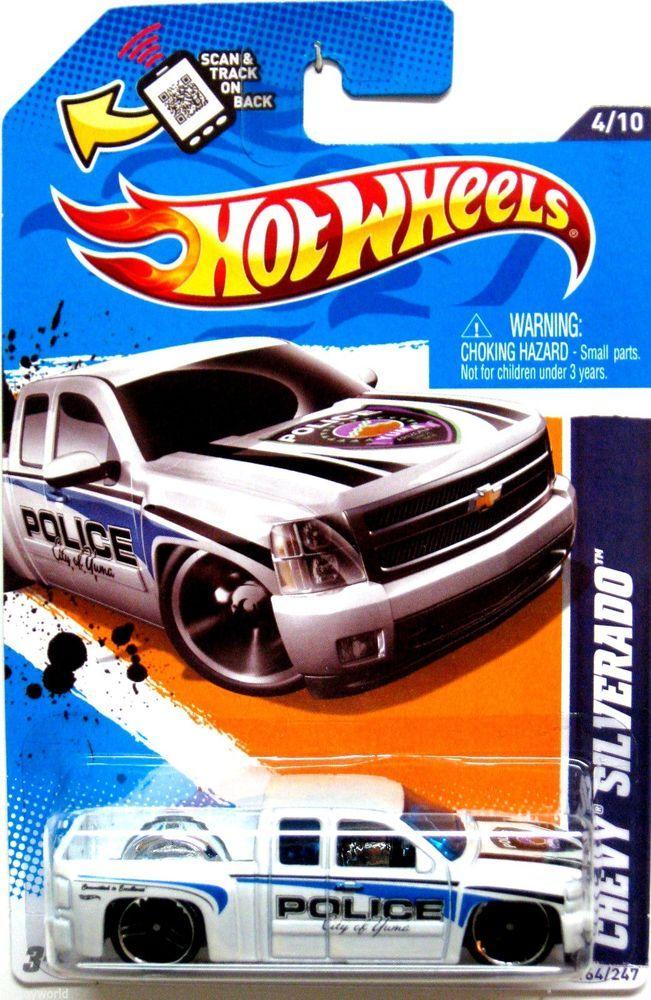 chevy silverado police truck hot wheels 2012 main street 410 white yuma police - Hot Wheels Cars 2012