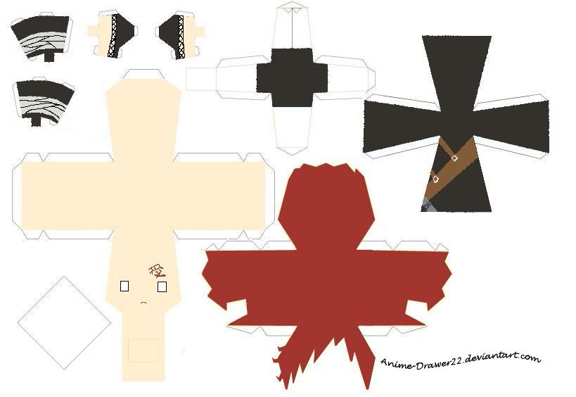 Gaara Papercraft Template By InnocentlyCreatingDeviantartCom