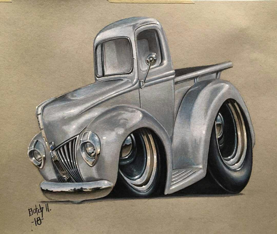 40 Ford Pickup Cool Car Drawings Car Cartoon Truck Art