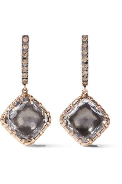 Caprice Cushion 14-karat Rose Gold, Diamond And Quartz Earrings - one size Larkspur & Hawk