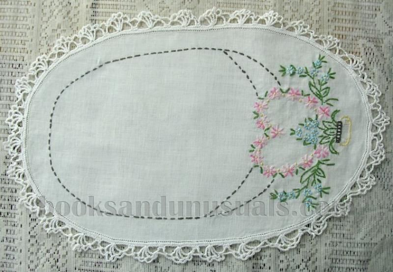 Vintage Linen Oval Dresser Scarf Or Doily Embroidered Fl Used