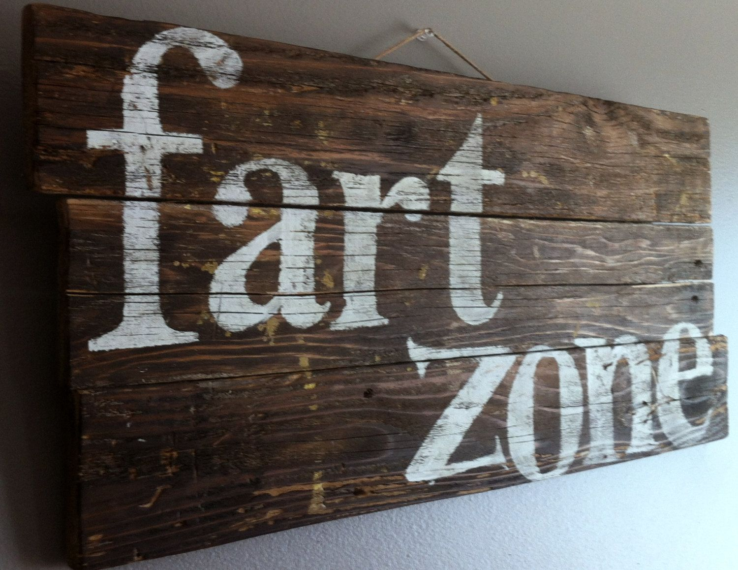 Funny humorous quote fart zone reclaimed cedar wood by emcsquared