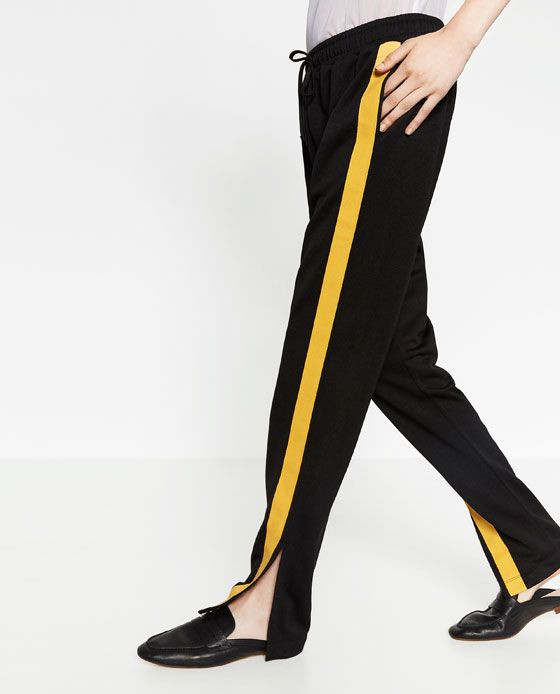 pantalon zara wide legamarillo