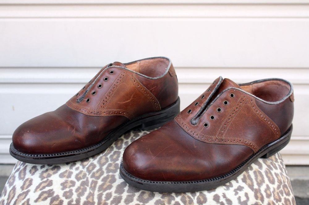FLORSHEIM @Ease Two-Tone Brown Leather Brogue Saddle Casual Oxford Shoe  Size 11W