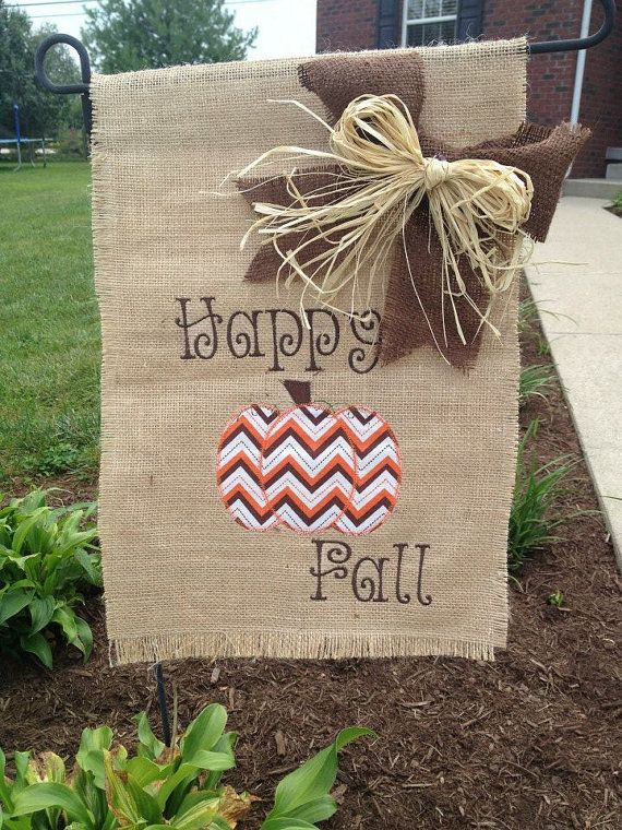 Fall Burlap Garden Flag With Chevron Pumpkin Or Scarecrow Design