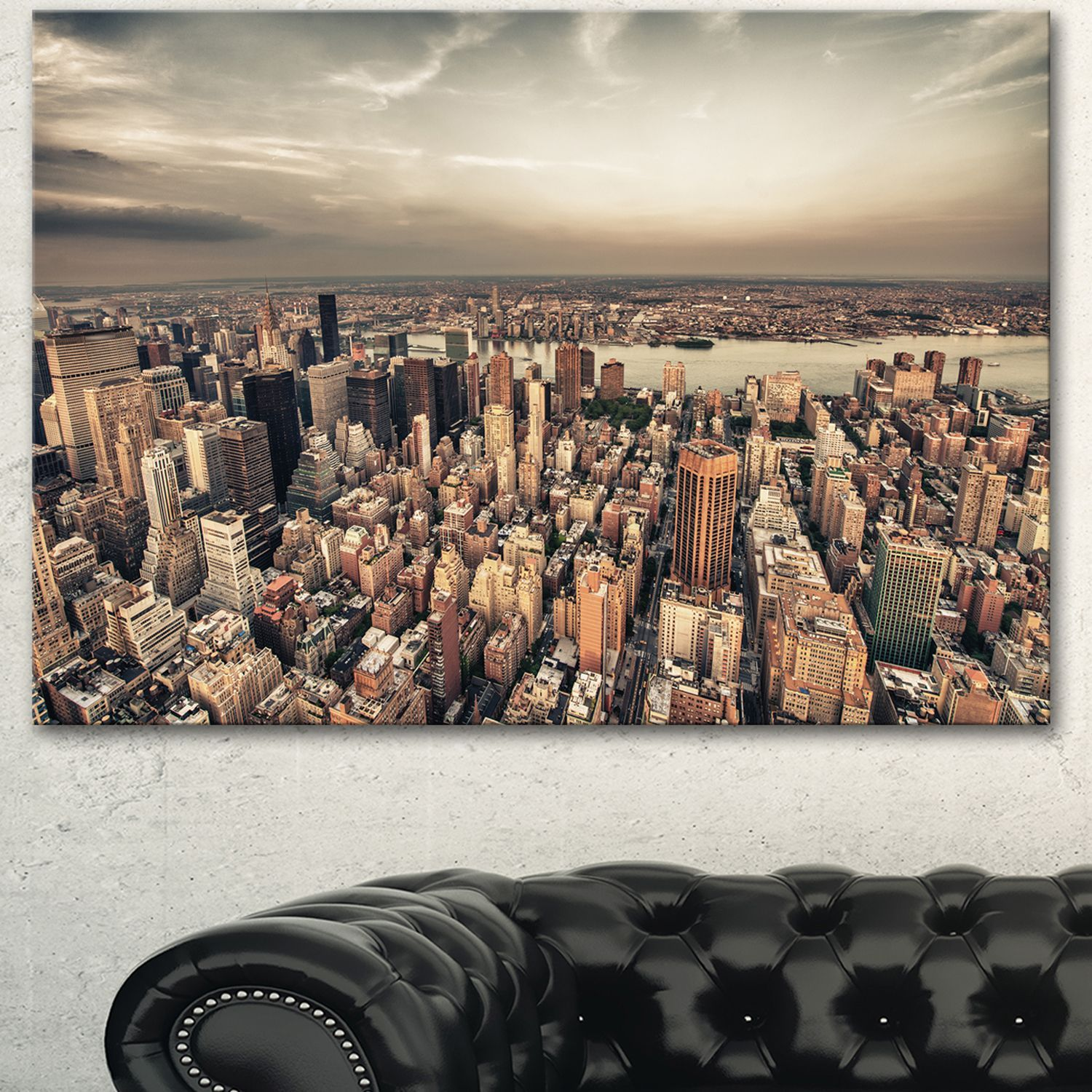 DESIGN ART Designart 'Manhattan Skyscrapers Aerial View' Modern Cityscape Canvas Artwork