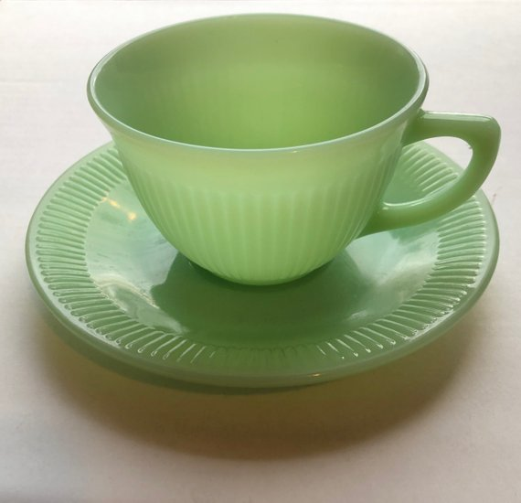 Fire King Jadeite Green Jane Ray Ribbed Tea Cup /& Saucer EXCELLENT CONDITION!!!