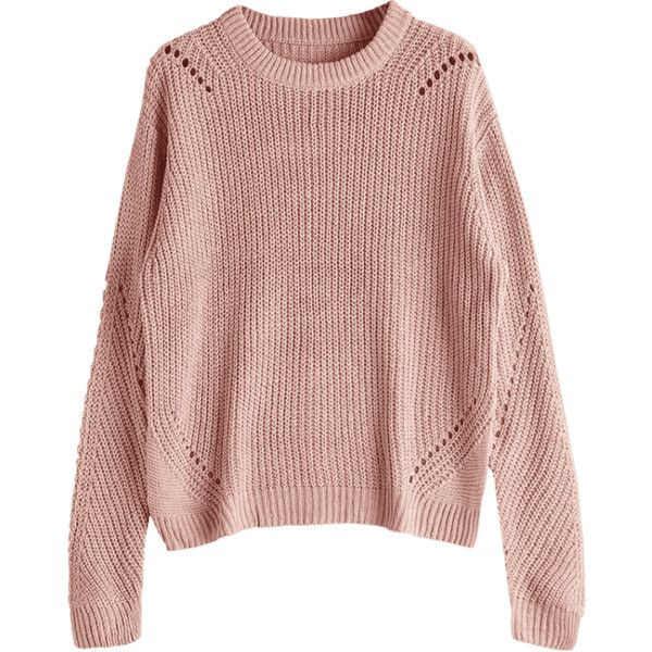 Crew Neck Loose Chunky Sweater Nude Pink (€22) ❤ liked on ...