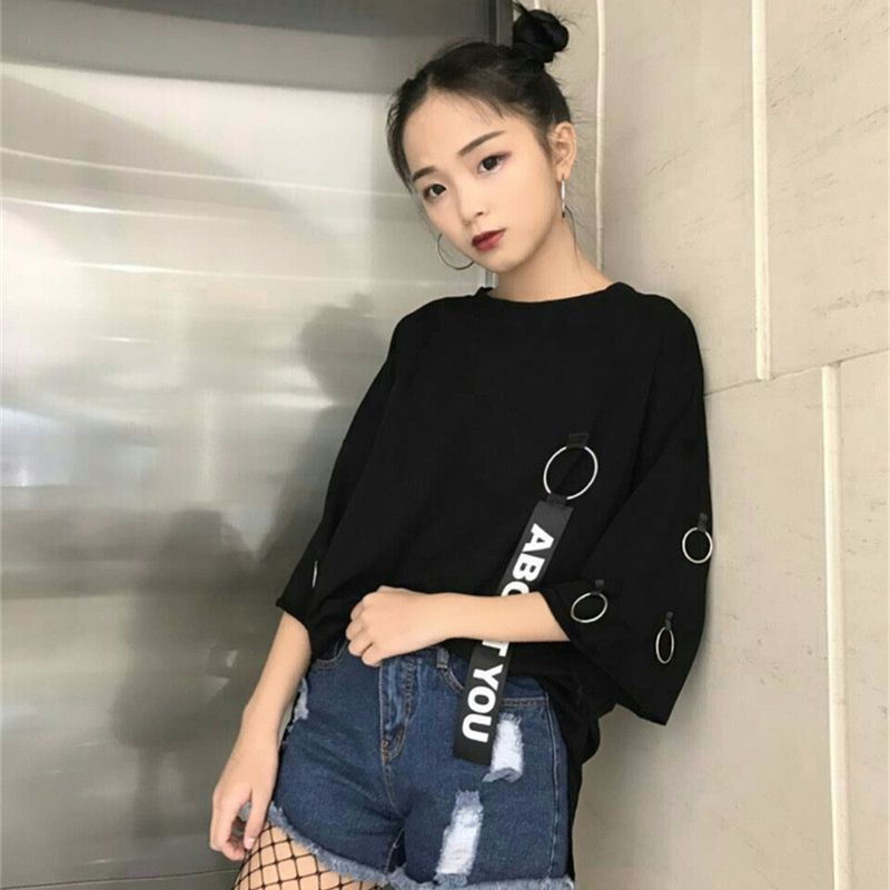 5ce530a75dfc YouGeMan 2018 Korean Ulzzang Harajuku Retro Ribbon Ring Solid Loose T shirt  Women Casual Shirts Summer Short Sleeve Tshirt Top-in T-Shirts from Women s  ...