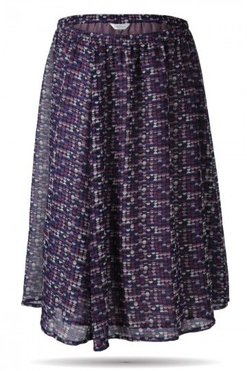 b41807de9275c Long Skirt in Purple Dot Print- Amydus.com