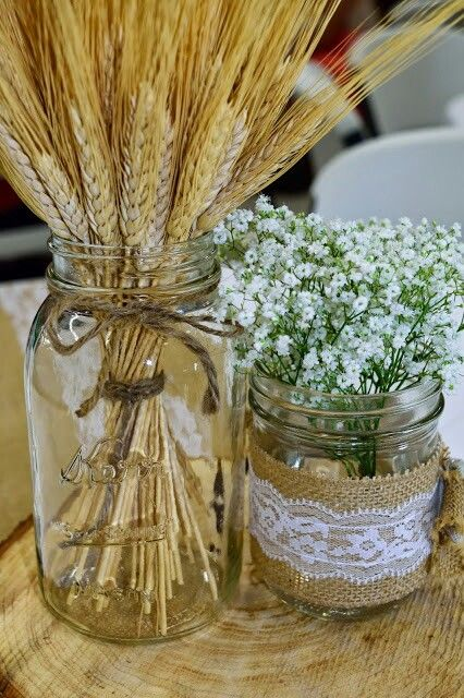 Wedding decor mason jars with wheat and baby 39 s breath my for Wheat centerpieces