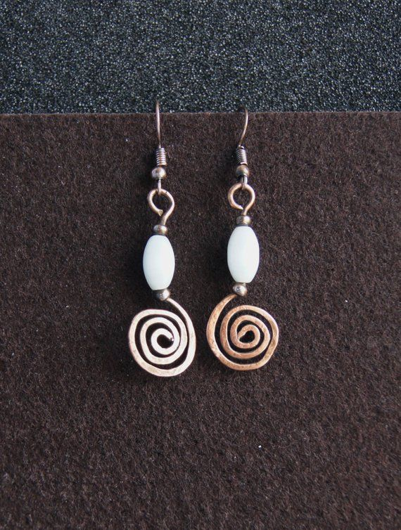 5a47cb3a6dab1b Copper spiral earrings in boho style. Copper curl earrings. Hanging dangle  earrings for every season