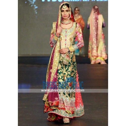 Hunter Green Chiffon Bridal Sharara Dress By Nomi Ansari at PFDC