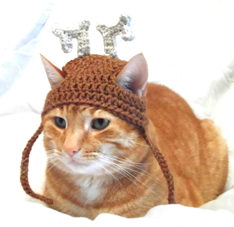 Crochet Cat Hat Christmas Reindeer Hat For Cats Cat Christmas Costume Novelty Hats For Cats Cat Christmas Costumes Crochet Cat Crochet Cat Hat