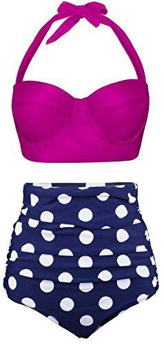e261c6fd98c AnnaLover Women s High Waisted Rose Red Vintage Polka Dot Plus Size Bikini  Set Beach Party Jr