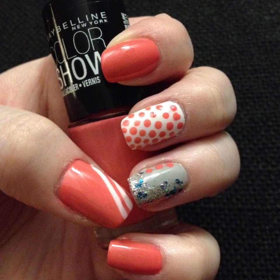 Maybelline Coral Crush, Porcelain White + polka dots and Audacious Asphalt with faded glitter.