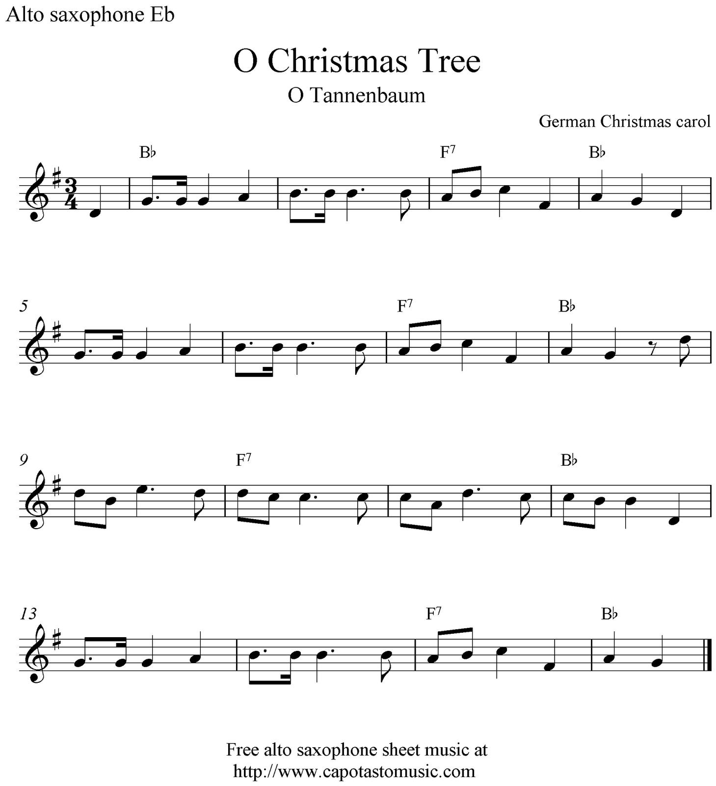 Christmas Songs Alto Sax | Free Christmas Sheet Music Saxophone Alto ...