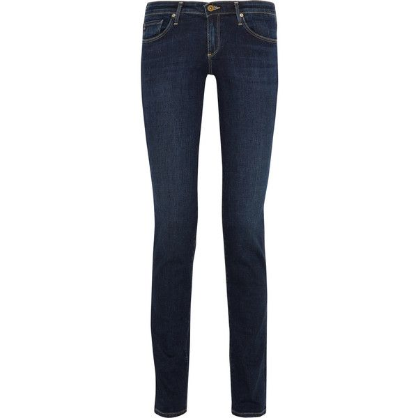 AG Jeans Aubrey low-rise skinny jeans ($99) ❤ liked on Polyvore