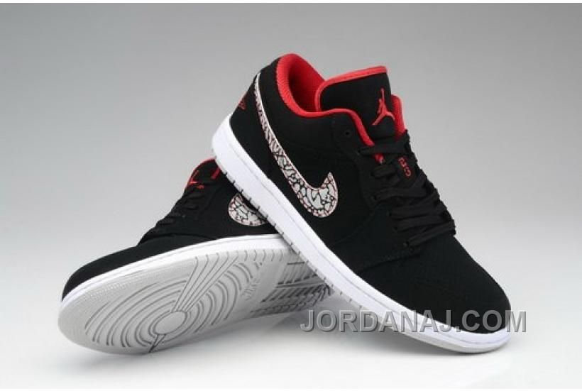 cheaper ec735 8be55 WHOLESALE NIKE AIR JORDAN I 1 RETRO MENS SHOES LOW BLACK RED Only  89.00 ,  Free Shipping!