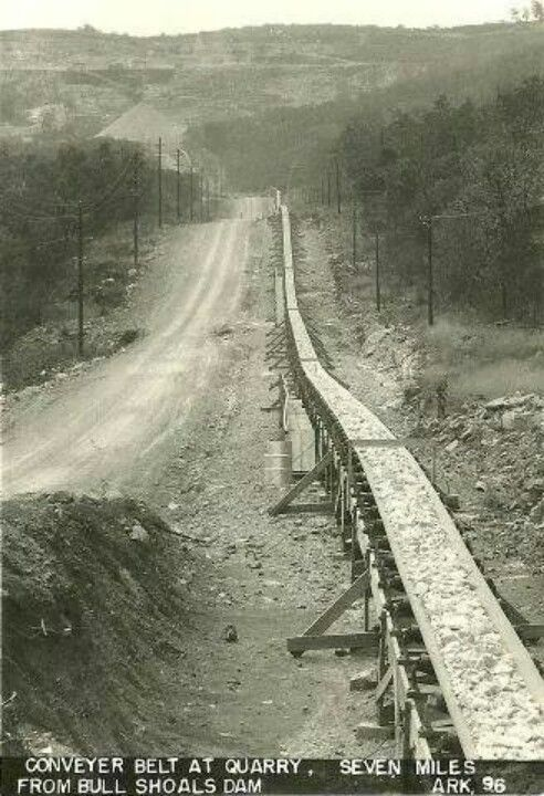 Conveyor belt from Flippin quarry to Bull Shoals Dam, used