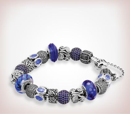 Bracelet Pandora Bleu/Argent www.bijoux-et-charms.fr