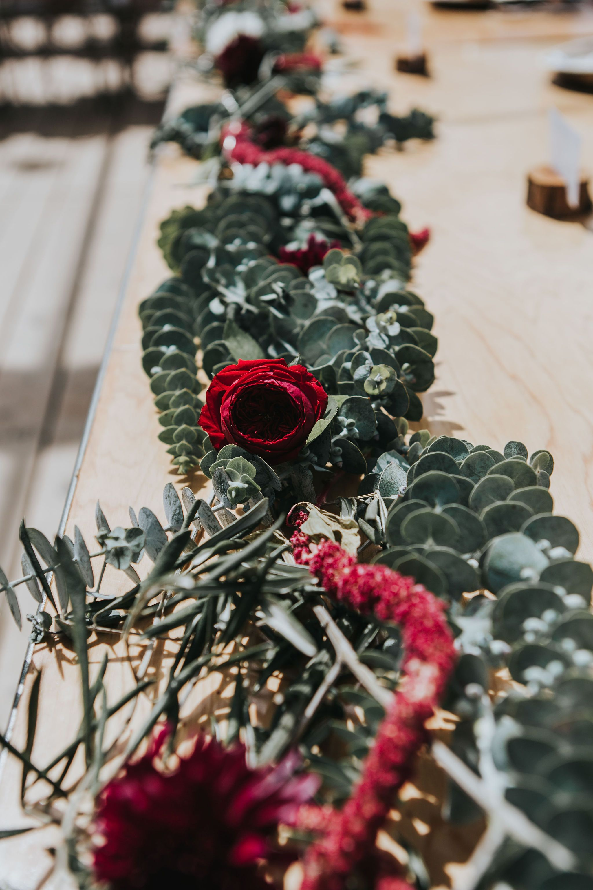 Crimson And Grey Table Flowers Floral Runner Table Flowers Arch Flowers