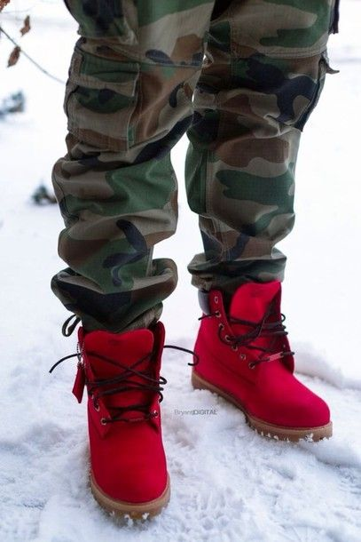 6ac4ea031b3 Shoes: mens cargo pants, mens boots, red timberlands, bright red ...