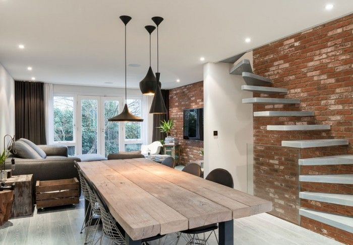 Brick Walls Cluster Pendant Lights Plank Table Themodernhouseco Entrancing Modern Dining Room Pendant Lighting Decorating Design
