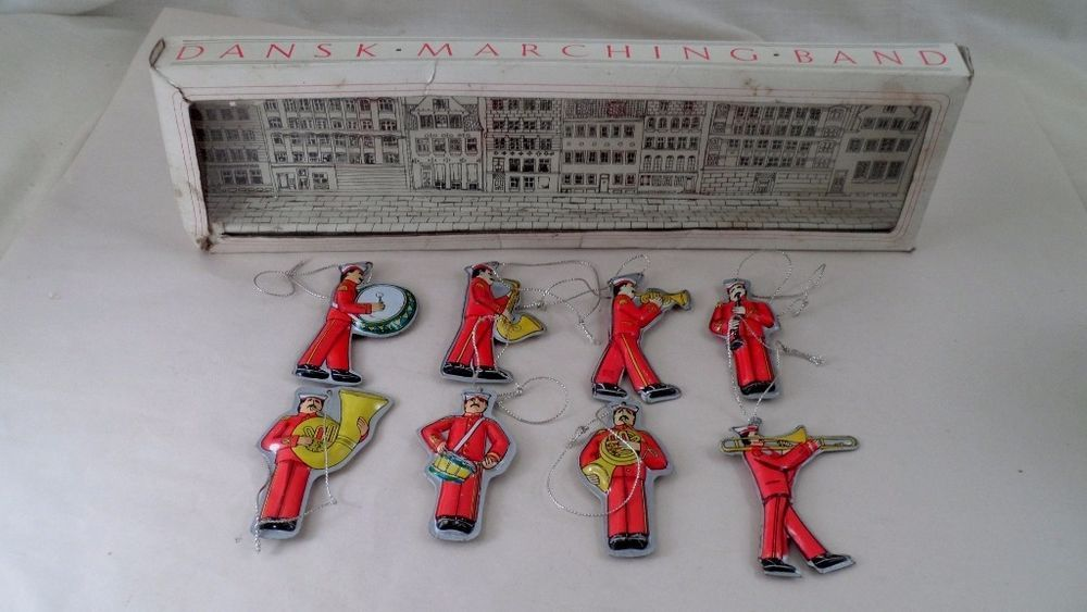Marching Band Christmas Ornaments Part - 29: VTG 1960s Dansk 8 Pc Marching Band Christmas Ornaments - Tin Lithograph -  In Box