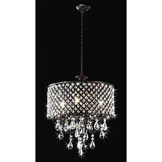 Add A Cly Touch To Your Home Decor With This Round Crystal Chandelier Light Fixture Features An Antique Bronze Finish Small Elegant