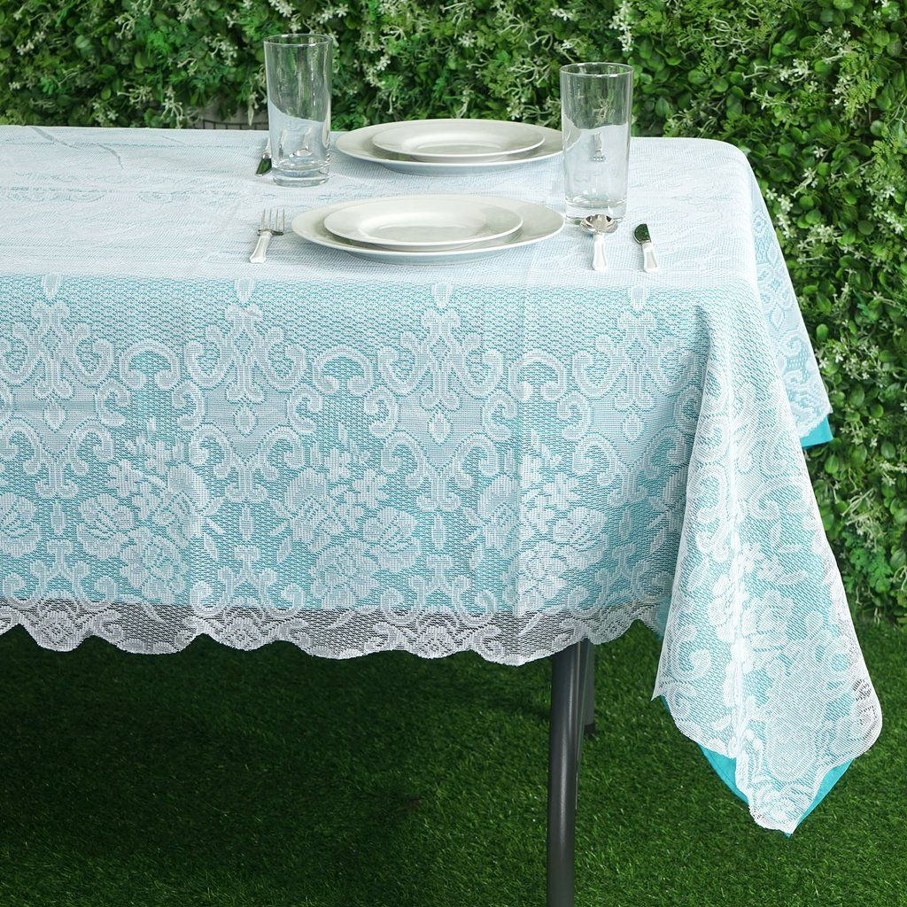 60 X90 Premium Lace White Rectangular Oblong Tablecloth In 2020