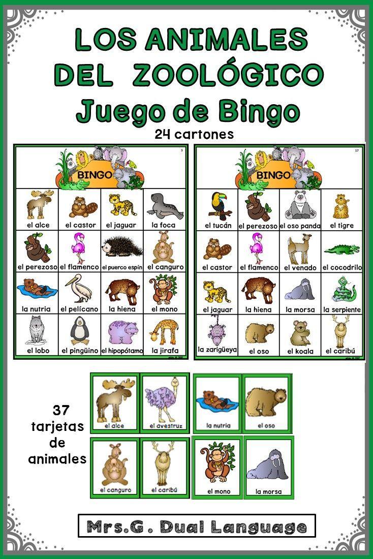 Zoo Animals Bingo Game In Spanish Learning Spanish Spanish Lesson Plans Spanish Curriculum