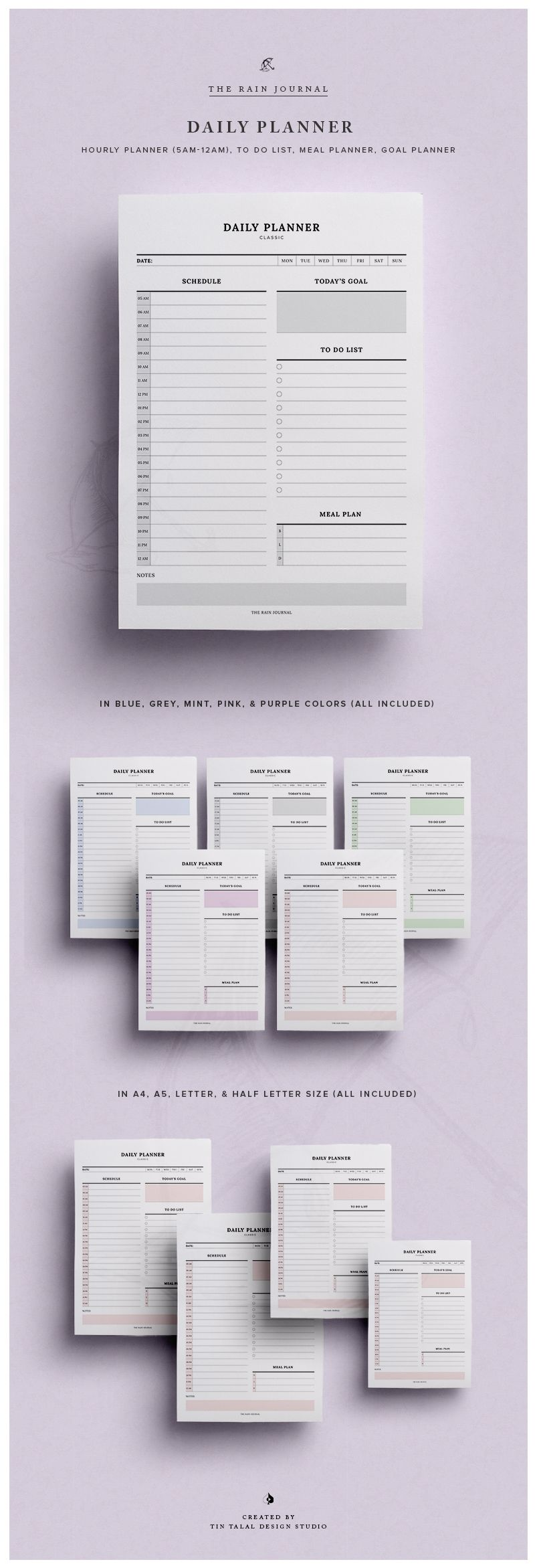 Daily Planner Printable w/ Hourly Planner, Meal Planner, & To Do ...