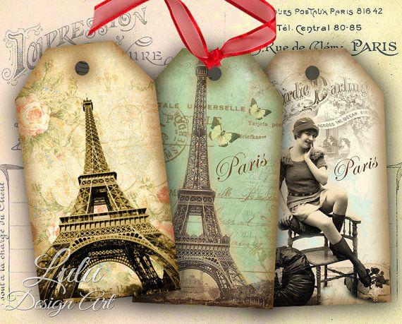 Paris Tags - Digital Collage Sheet - Digital Paper - Scrapbook - Gift Tags - Gift Cards - Vintage Tags - Scrapbook - Hang Tags - Printables