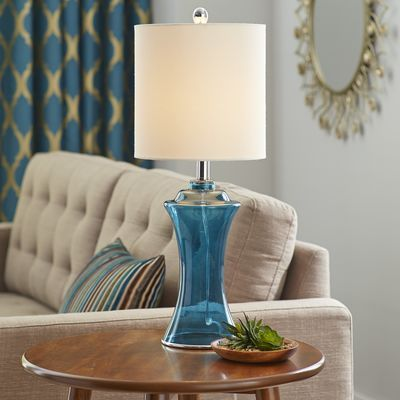 Navy sea glass table lamp glass table lamps glass table and sea glass lamp navy mozeypictures Images