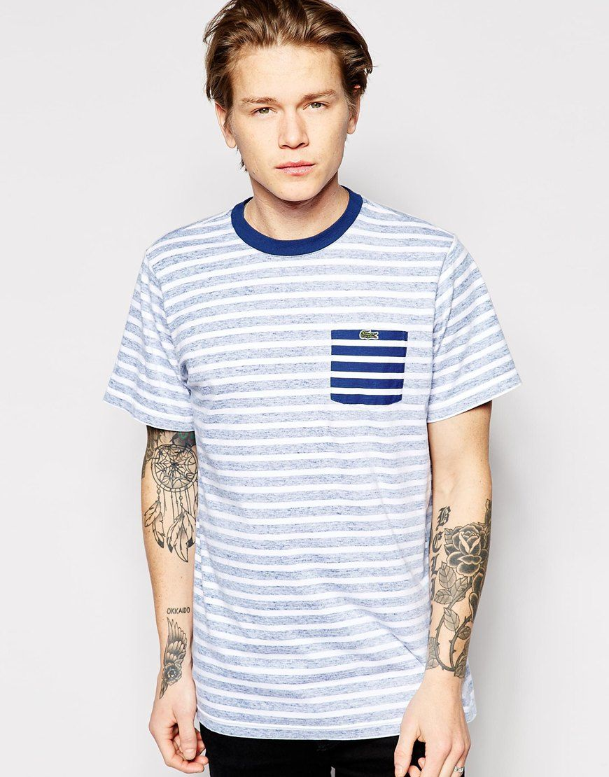 e4691b1b Lacoste Live T-Shirt with Stripe and Reverse Pocket | lacoste ...