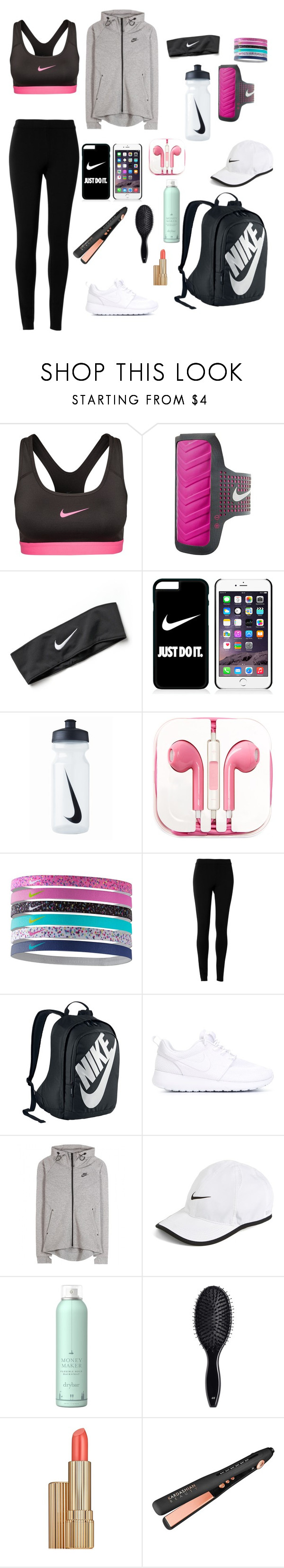 """""""Untitled #12"""" by shirelmansur ❤ liked on Polyvore featuring NIKE, PhunkeeTree, Max Studio, Drybar, H&M and Estée Lauder"""