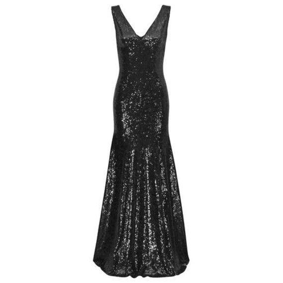Langes schwarzes Abendkleid mit Pailletten von Four Flavor ...