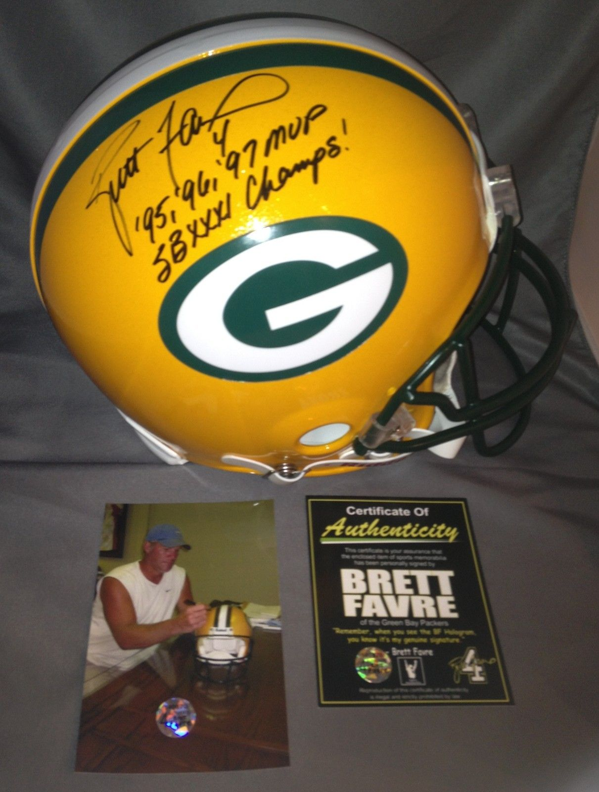 Brett Favre Signed Autographed Green Bay Packers Pro Line Helmet Mvp Sb Xxxi Green Bay Packers Green Bay Packers